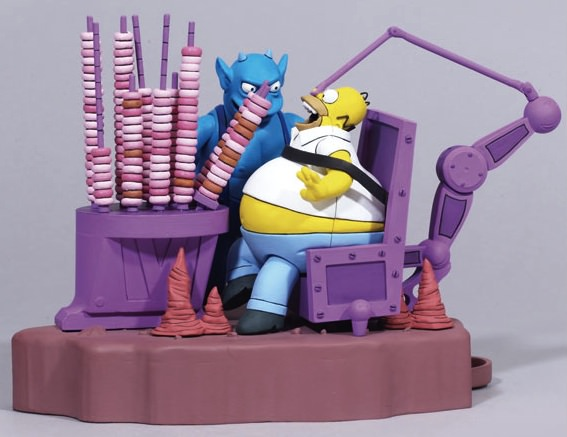 Homer getting fead donuts by the devil