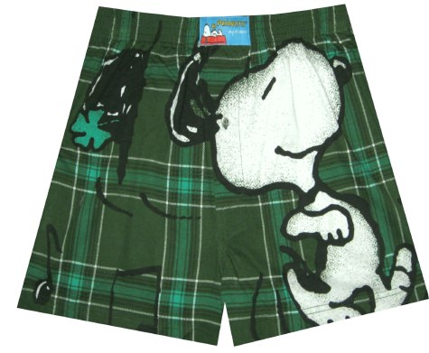 Peanuts - Snoopy Good Irish Tune Plaid Boxers for men