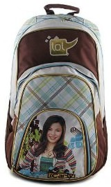 A brown iCarly backpack