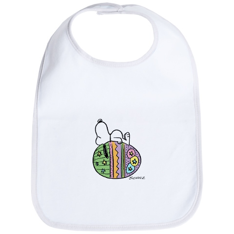 Snoopy on a baby bib with an easter Egg