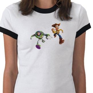 Buzz Lightyear running with his friend Woody on this T-Shirt
