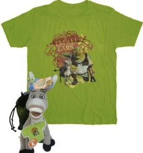 shrek and donkey on a t-shirt and plush doll