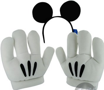 Disney Mickey Mouse Ears Headband and Wearable Gloves Combo