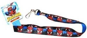 A blue Spiderman lanyard that is handy and cool