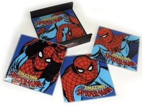 marvel's Spider-Man now on this set of 4 Glass coasters