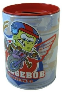 Spongebob Squarepants on his bike on this Piggy bank