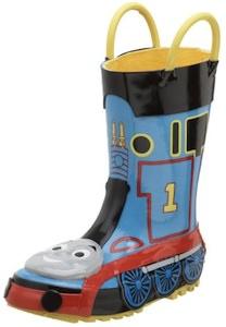 Thomas & Friends rain boots that look like a train