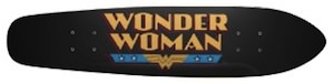 female skateboard with the wonder woman logo on it
