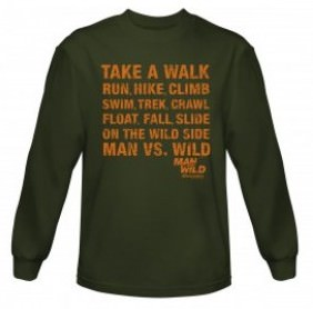 Man vs. Wild Take a Walk Long Sleeve T-Shirt - Military Green