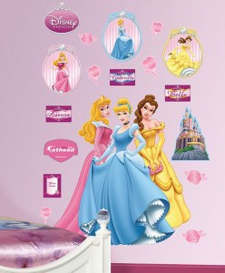 Aurora, Cinderella & Belle princesses as wall decal from Disney