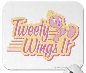 Tweety is running on this Tweety Wings it Mousepad