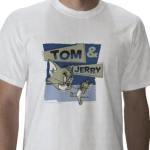 Tom and Jerry t-shirt where jerry get scared by tom the cat