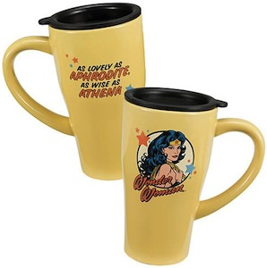 Wonder Woman high quality travel mug, for all you coffee cravings.
