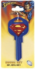 A blank Superman House key in a pack of 5