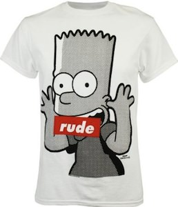 Bart Simpson the naughty boy now censored on this t-shirt