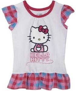 Plaid hello kitty short sleeved t-shirt for girls