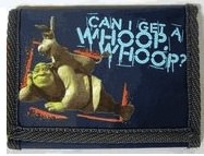 A blue Shrek wallet with a picture of Shrek and Donkey
