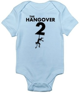 The Hangover 2 baby bodysuit in the typical baby colors
