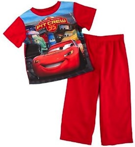Pit crew pajama set from Cars 2 with of course Lightning McQueen
