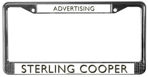 Sterling Cooper Advertising License plate frame from the Mad Men TV series