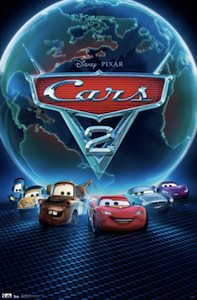 Cars 2 globe movie poster with lightning mcqueen and his friend mater