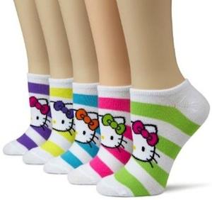 Colorfull striped hello kitty socks