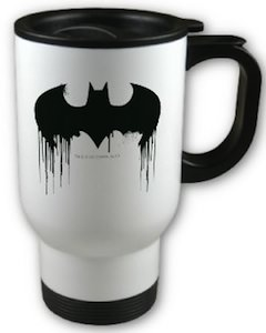 Batman Spray paint travel mug with dripping wet paint