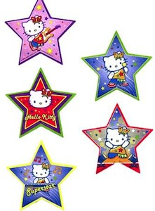 Glitter Hello Kitty Stickers that are star shaped