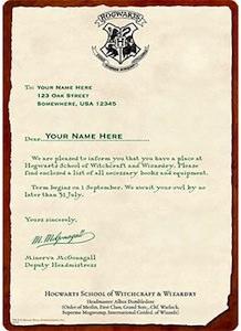 Personal Hogwarts Acceptance Letter
