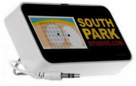 Cartman from South Park on this Doodle speaker