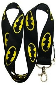 Black Lanyard with Batman logo's on it