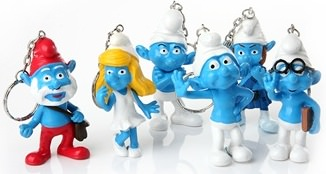 Pappa, Smurfette, gutsy and brainy key chains from the Smurfs