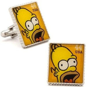 Homer Simpson cufflinks made with stamp