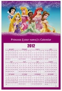 Disney princess calendar 2012