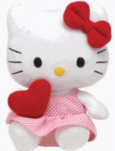 Hello Kitty Ty Beanie Babies Red Heart