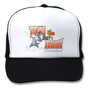 Tom and Jerry playing baseketball on this baseball hat