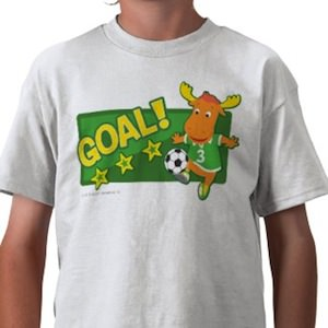 The Backyardigans soccer t-shirt with Tyrone making a Goal