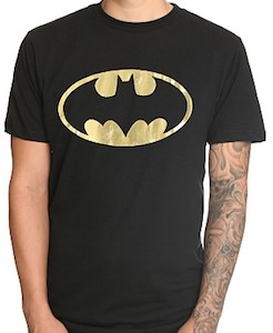 Batman gold foil logo t-shirt