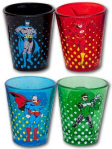 DC Comics 4 Superhero Shotglass Set