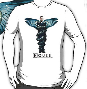 Dr gregory House MD surrounded by the caduceus on this t-shirt