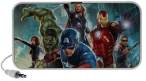 Marvel Avengers group action photo on a portable speaker