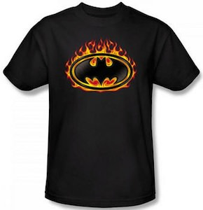 Batman Shield In Flames T-Shirt