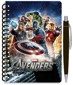 Marvel the Avengers spiral journal with pen