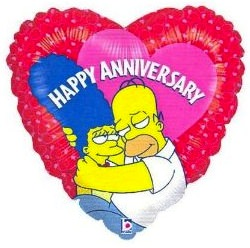 The SImpsons heart shaped Happy Anniversary Balloon