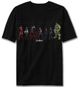 Marvel the Avengers size chart t-shirt