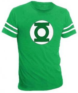 The Big Bang Theory Sheldon Green Lantern Logo Striped Sleeves T-Shirt