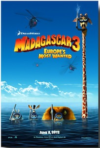The movie poster of Dreamworks Madagascar 3