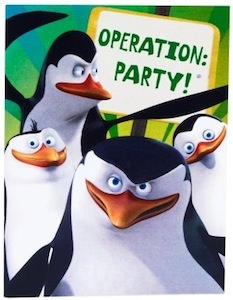 Pengiuns Of Madagascar Party Invitations