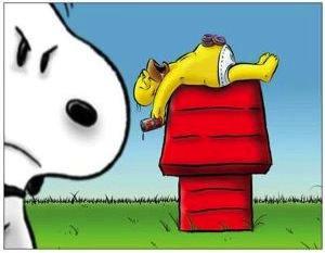 Snoopy Meets Homer Simpson Magnet