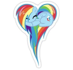 My Little Pony Rainbow Dash heart shaped sticker